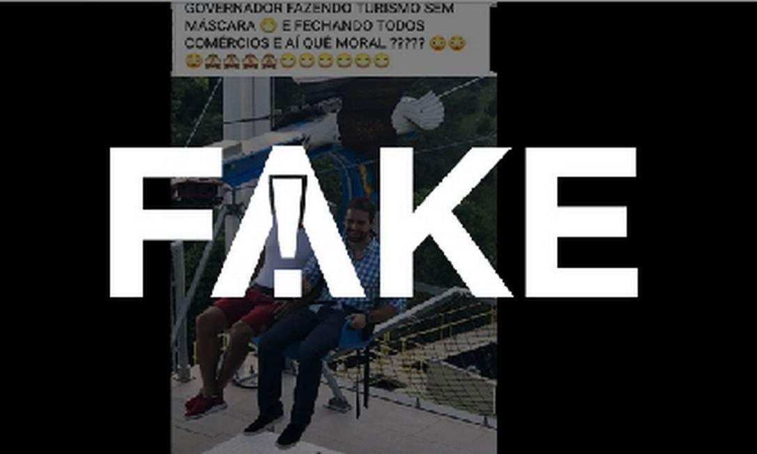 É #FAKE que foto mostre governador do RS em teleférico e sem máscara em meio a pandemia Foto: Reprodução