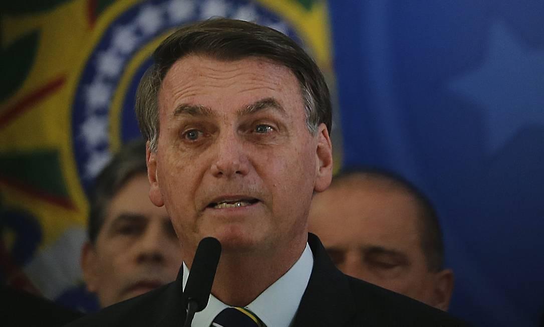 O presidente Jair Bolsonaro fez seu pronunciamentosobre o pedido de demissão de Sérgio Moro com a presença de todos os ministros Foto: Jorge William