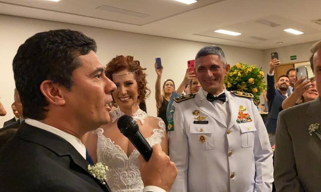 Sergio Moro discursa em casamento da deputada Carla Zambelli Foto: Divulgação