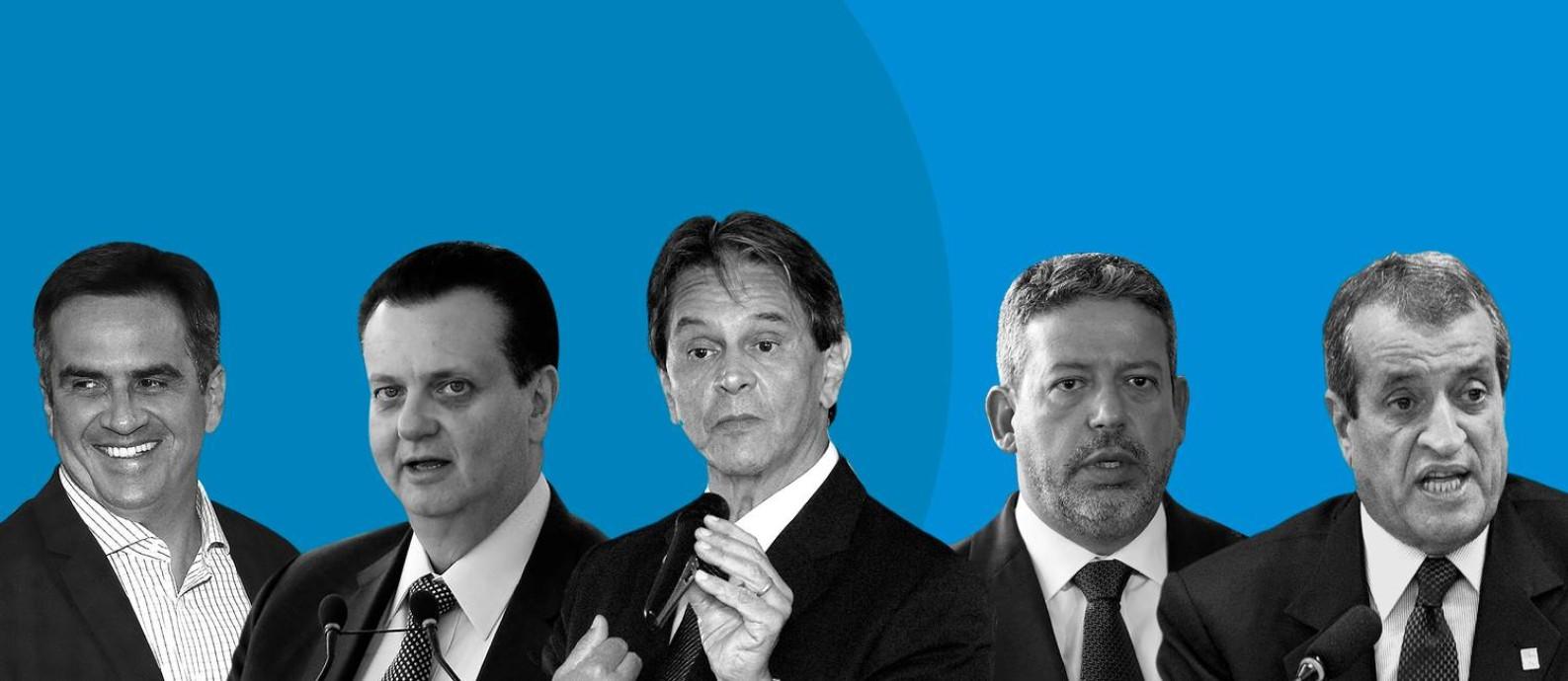 Dirigentes partidários do chamado centrão — bloco da Câmara que reúne legendas como PP, PL, Republicanos, PSD e PTB Foto: Editoria de Arte