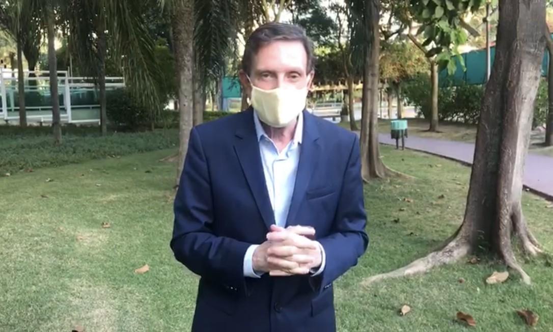 O prefeito Marcelo Crivella voltou a apelar para que as pessoas fiquem em casa Foto: Reprodução