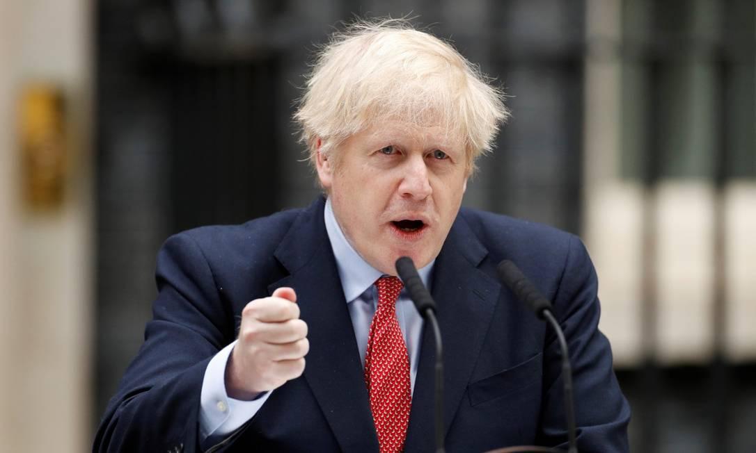 Premier Boris Johnson, em discurso após se recuperar da Covid-19 Foto: JOHN SIBLEY / REUTERS