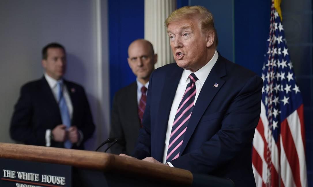 Presidente Donald Trump durante entrevista coletiva na Casa Branca Foto: OLIVIER DOULIERY / AFP / 24-04-2020
