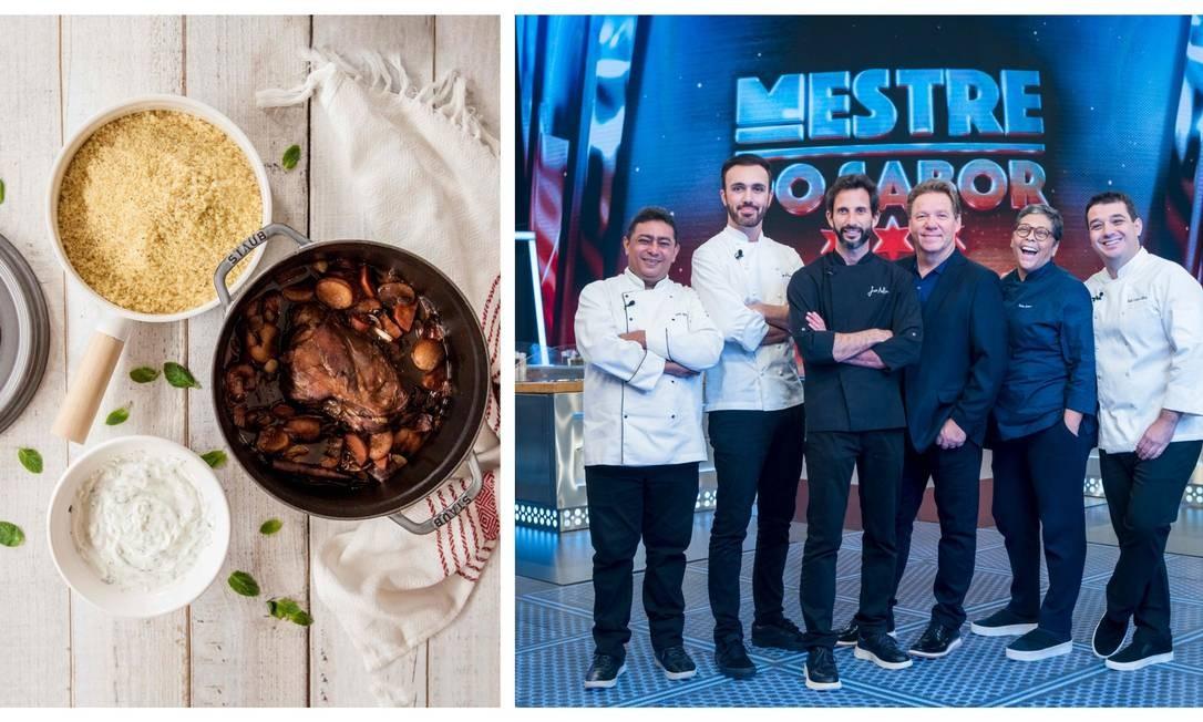 Batista, Leo Paixão, José Avillez, Claude Troisgros, Katia Barbosa e Rafa Costa e Silva, na segunda temporada de 'Mestre do sabor'