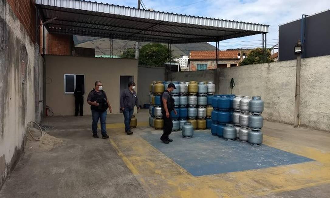 Operação da polícia civil para coibir o esquema de botijão de gás Foto: Divulgação/Polícia Civil