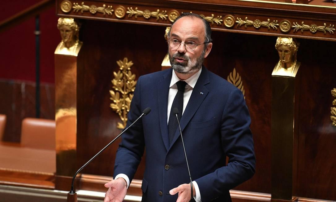 Premier francês Edouard Philippe, em discurso ao Parlamento Foto: DAVID NIVIERE / AFP
