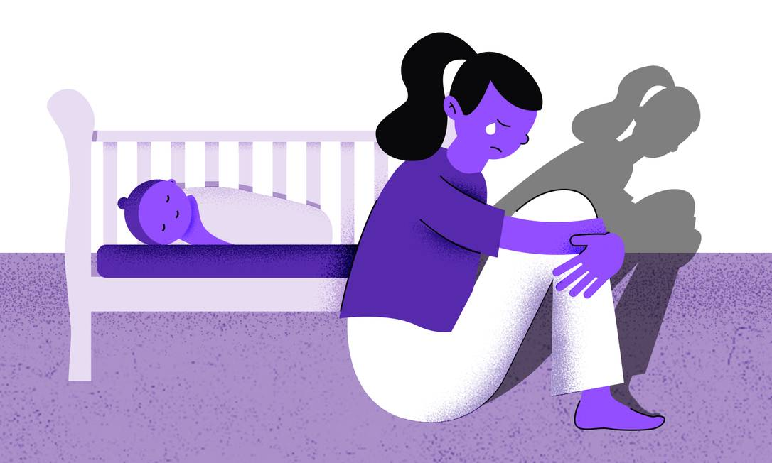 Tristeza persistente e falta de prazer estão entre os principais sintomas da depressão pós-parto. Familiares e pessoas próximas podem ajudar a identificar a doença Foto: Arte de Ana Luiza Costa