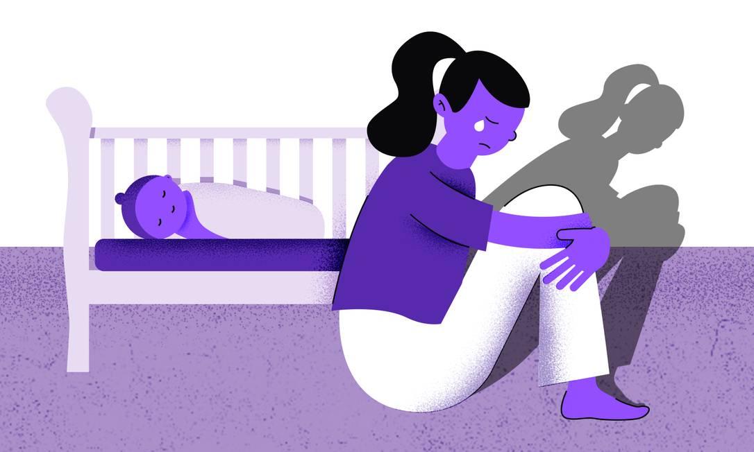 Tristeza pertinente e falta de prazer estão entre os principais sintomas da depressão pós-parto. Familiares e pessoas próximas podem ajudar a identificar o quadro Foto: Arte de Ana Luiza Costa