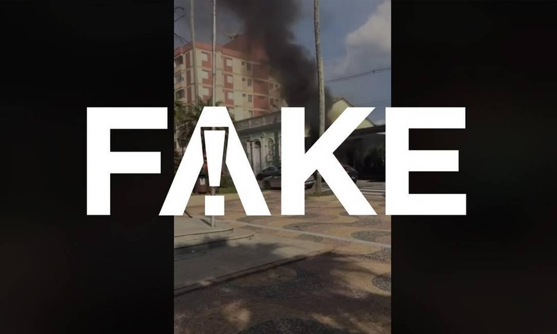 É #FAKE que vídeo mostre incêndio em carro provocado por álcool em gel no interior de São Paulo Foto: Reprodução