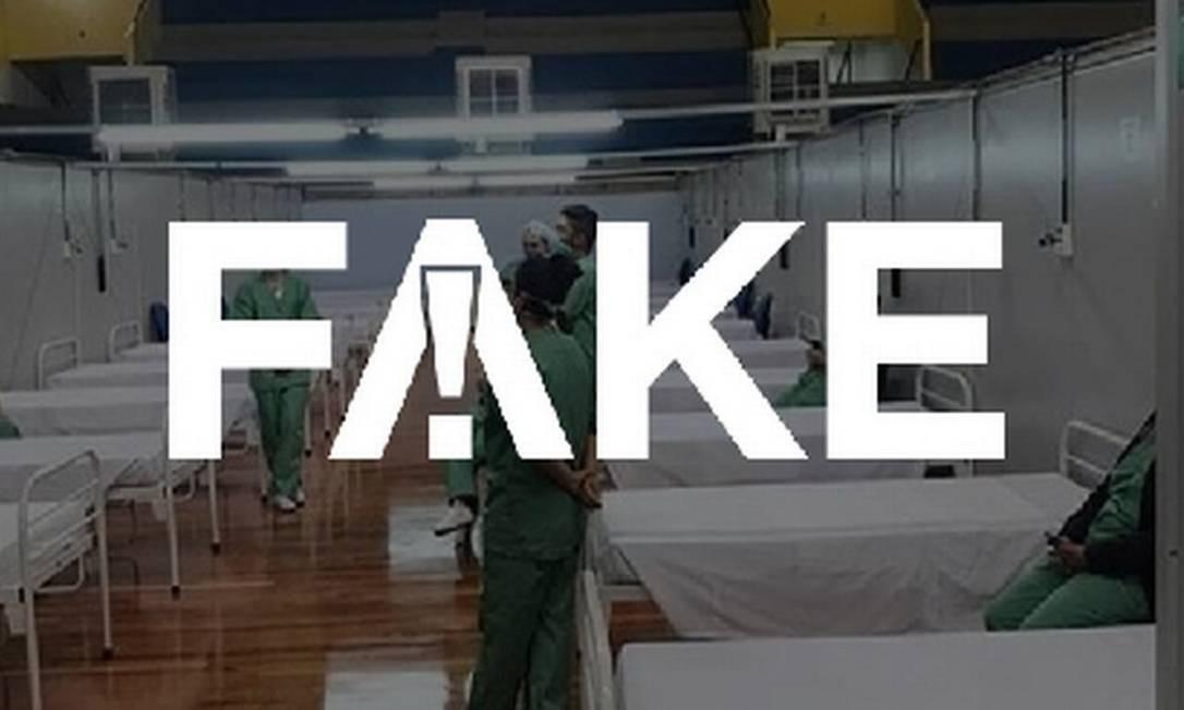 É #FAKE que hospital de campanha de Santo André não tem pacientes com Covid-19 Foto: Reprodução