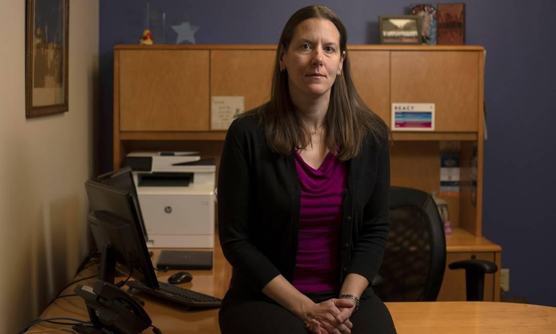 A médica Kristina Tocce é diretora da Planned Parenthood of the Rocky Mountains e atendeu Shiloh Kirby via teleconferência do seu escritório, em Denver, em novembro de 2019 Foto: RACHEL WOOLF / NYT