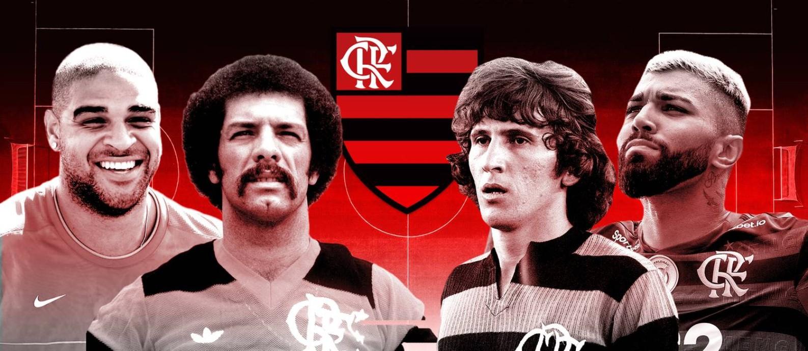Top-30: os maiores ídolos da história do Flamengo Foto: Editoria de Arte