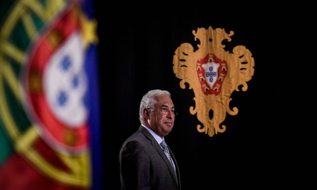 O primeiro-ministro português e líder do Partido Socialista, Antonio Costa, em uma entrevista coletiva dois dias após vencer a eleição geral Foto: PATRICIA DE MELO MOREIRA / AFP/08-10-2020