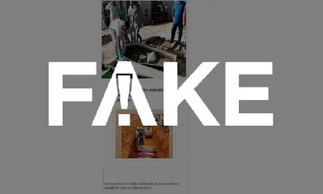É #FAKE que foto mostre caixão enterrado vazio para inflar dados de mortos por coronavírus em Manaus Foto: Reprodução