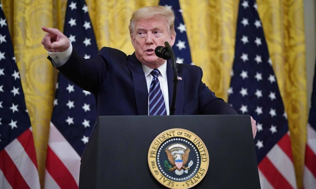 Donald Trump durante entrevista coletiva na Casa Branca Foto: MANDEL NGAN / AFP