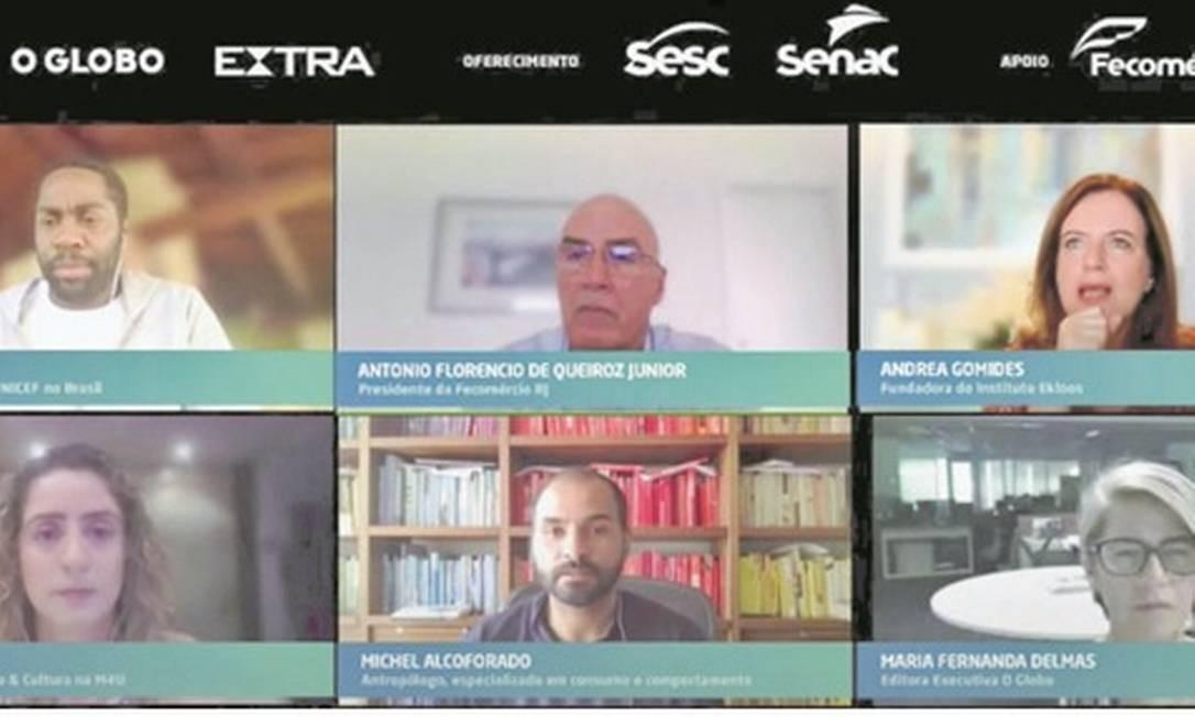 """O painel com os participantes da sétima edição do """"Reage, Rio!"""", que aconteceu por videoconferência, para atender a recomendações das autoridades Foto: Reprodução"""