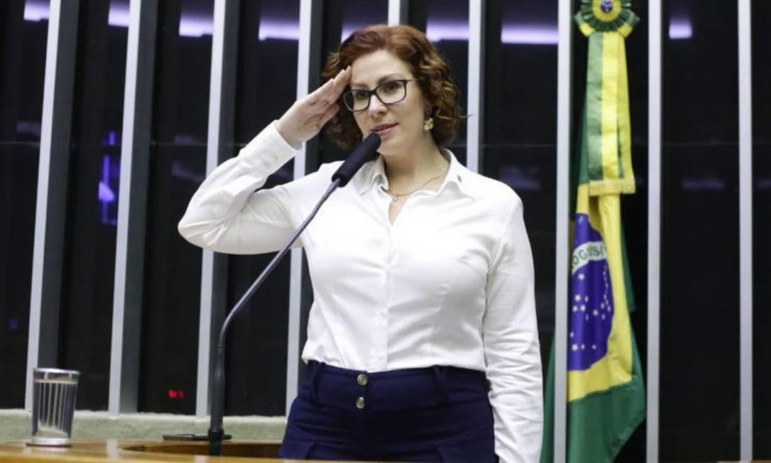 A deputada bolsonarista Carla Zambelli, que tentou intermediar a permanência do ex-ministro Sérgio Moro no governo Foto: Carlos Macedo/Câmara dos Deputados