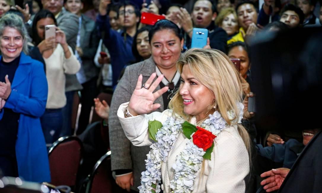 Presidente interna da Bolívia, Jeanine Ánez, durante cerimônia na qual anunciou sua candidatura à Presidência Foto: DAVID MERCADO / Reuters / 24-01-2020