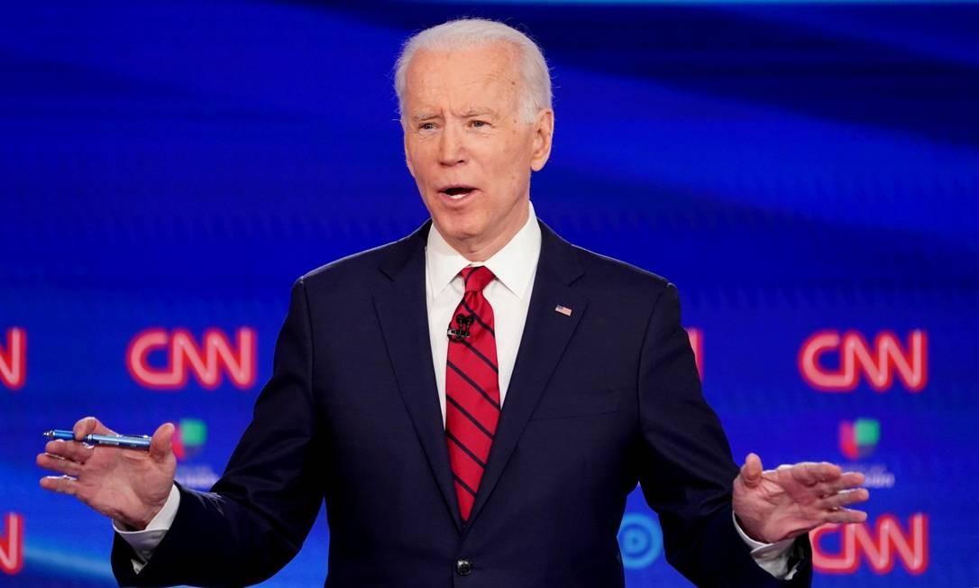 Joe Biden, durante debate entre os candidatos democratas realizado pela CNN Foto: Kevin Lamarque / REUTERS / 15-03-2020