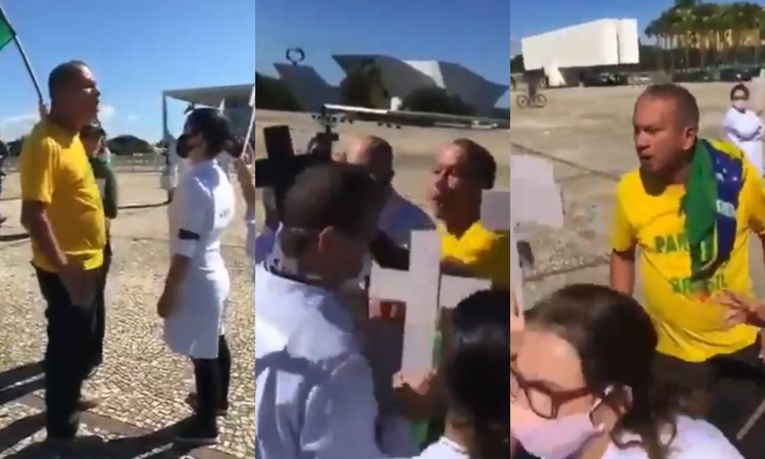 Imagens registradas durante protesto em Brasília mostram agressões a enfermeiros Foto: Reprodução / Redes sociais
