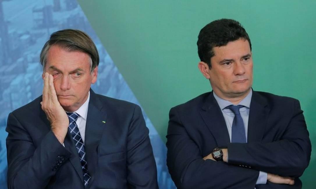 Bolsonaro e Moro, rompidos há duas semanas, mas com desavenças desde o começo do governo Foto: Adriano Machado / Reuters