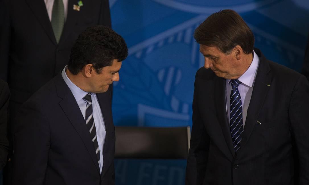 Bolsonaro e Moro em cerimônia no Palácio do Planalto Marenco Foto: Daniel Marenco / 28-08-2019