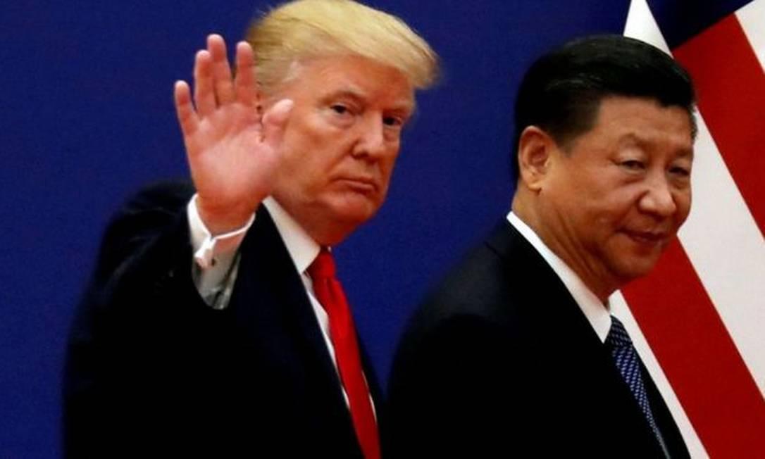 Donald Trump e Xi Jinping, em foto de 2017; EUA e China discutem sobre origem do coronavírus Foto: Reuters