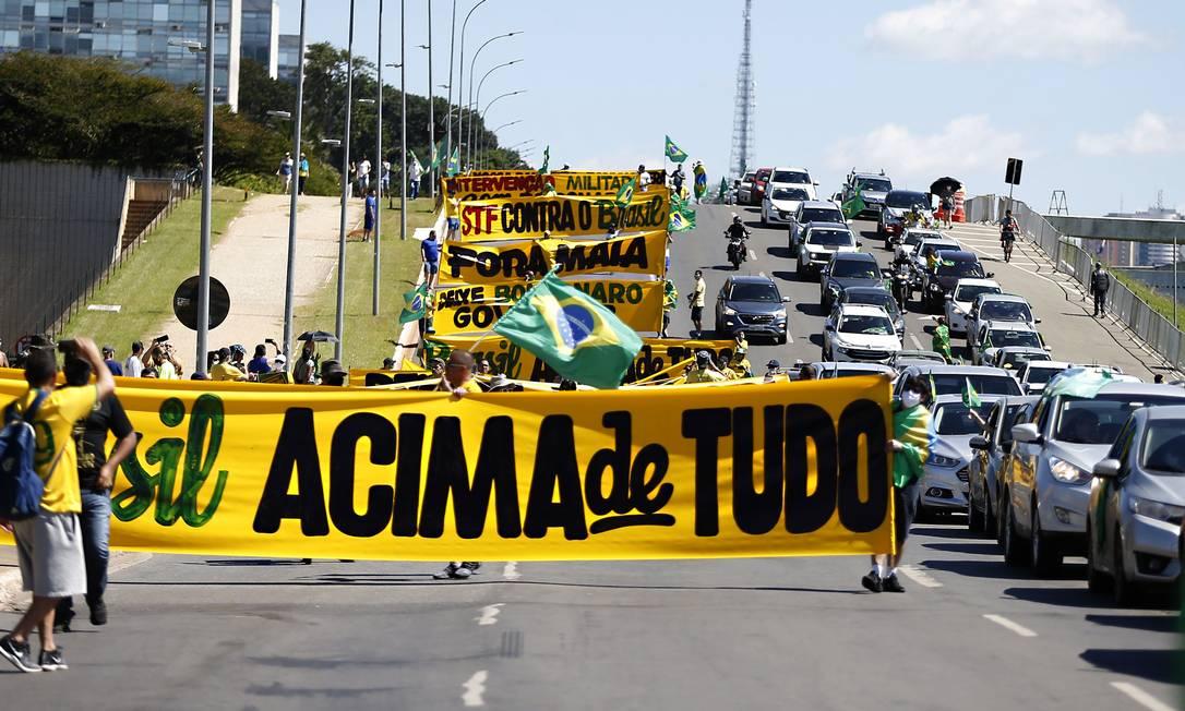 Manifestação a favor do presidente Jair Bolsonaro, em Brasília Foto: Jorge William / Agência O Globo