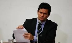 O ex-ministro Sergio Moro durante coletiva de imprensa em que anunciou sua demissão do governo Bolsonaro Foto: Pablo Jacob/Agência O Globo