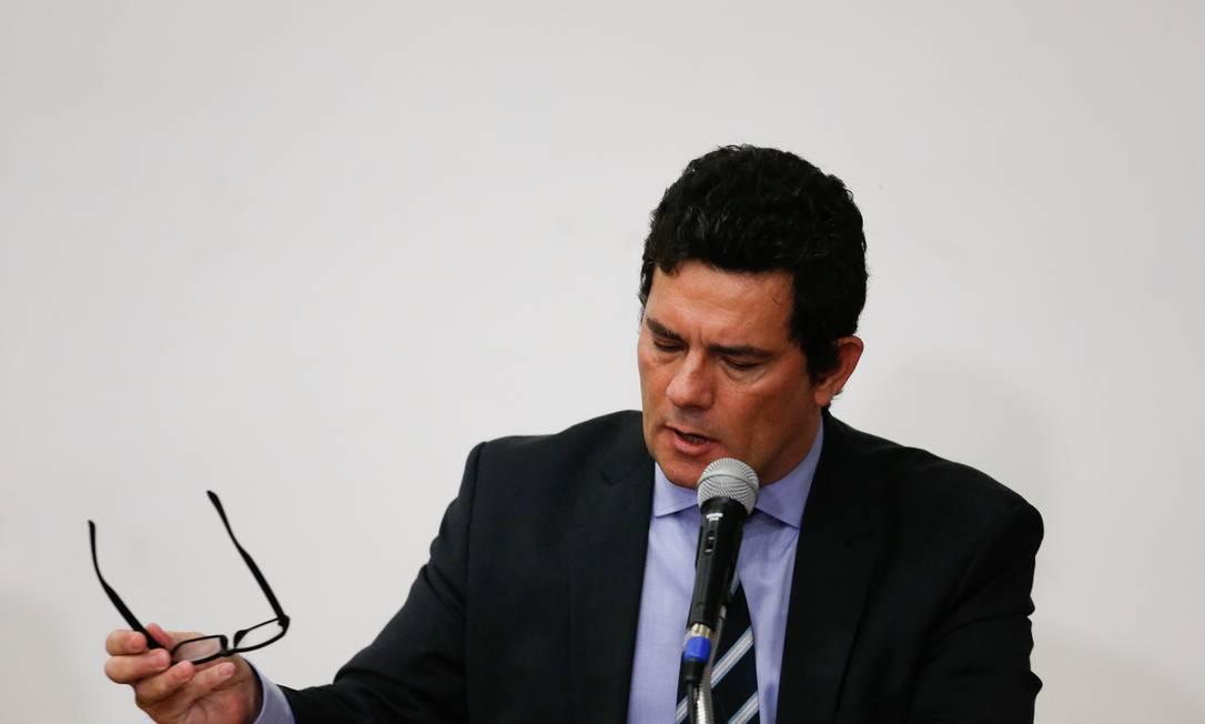 Moro em pronunciamento no qual anunciou sua demissão do governo Bolsonaro, no último dia 24 Foto: Pablo Jacob / Agência O Globo