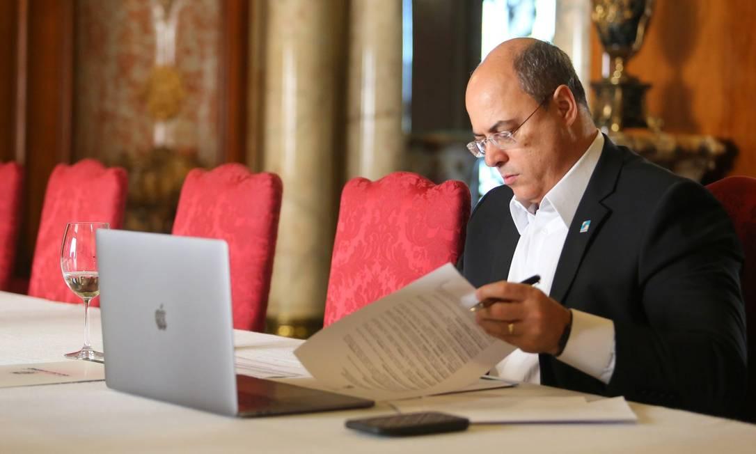 Governador Wilson Witzel, no Palácio Guanabara Foto: Philippe Lima - 13/04/2020 / Agência O Globo
