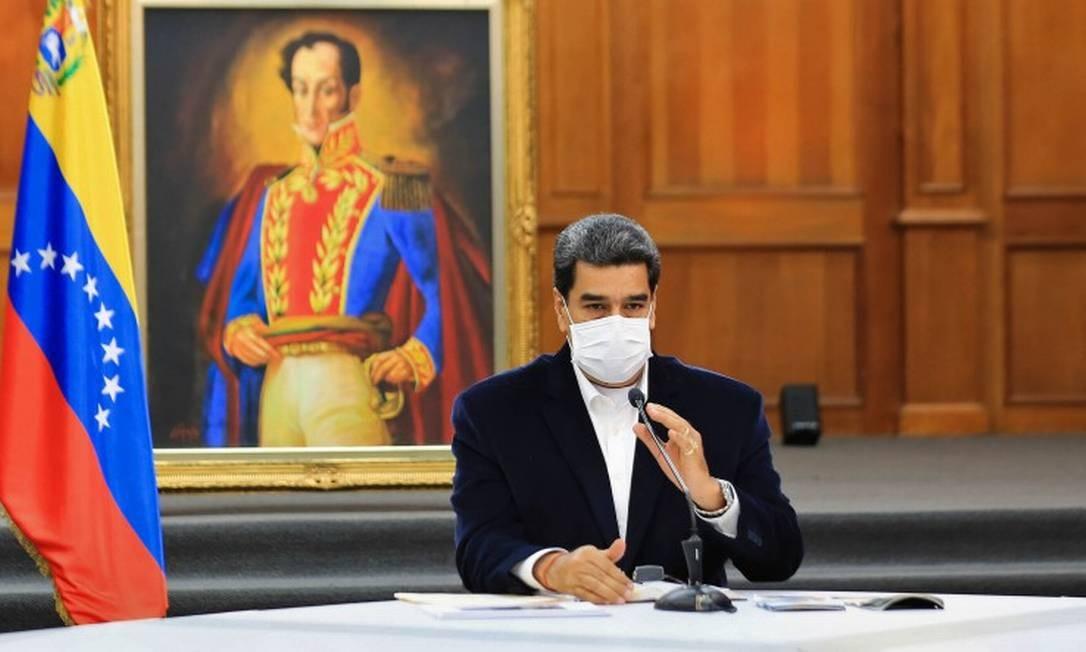 Presidente venezuelano Nicolás Maduro, durante reunião Foto: JHONN ZERPA / AFP