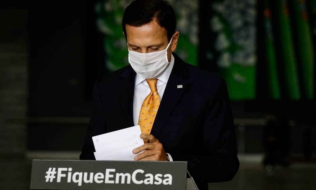 Governador João Doria atualiza informações sobre o coronavírus em São Paulo Foto: Aloisio Mauricio/Fotoarena/Agência O Globo / Agência O Globo