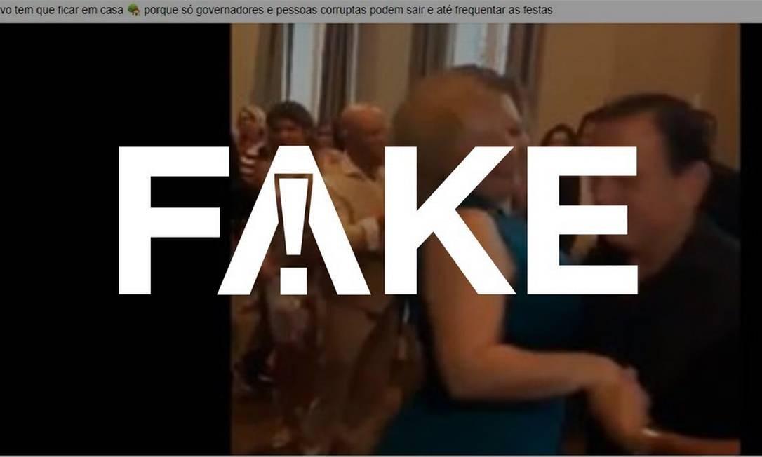 É #FAKE que vídeo mostre Doria e Joice Hasselmann dançando em festa em meio à pandemia de coronavírus Foto: Reprodução