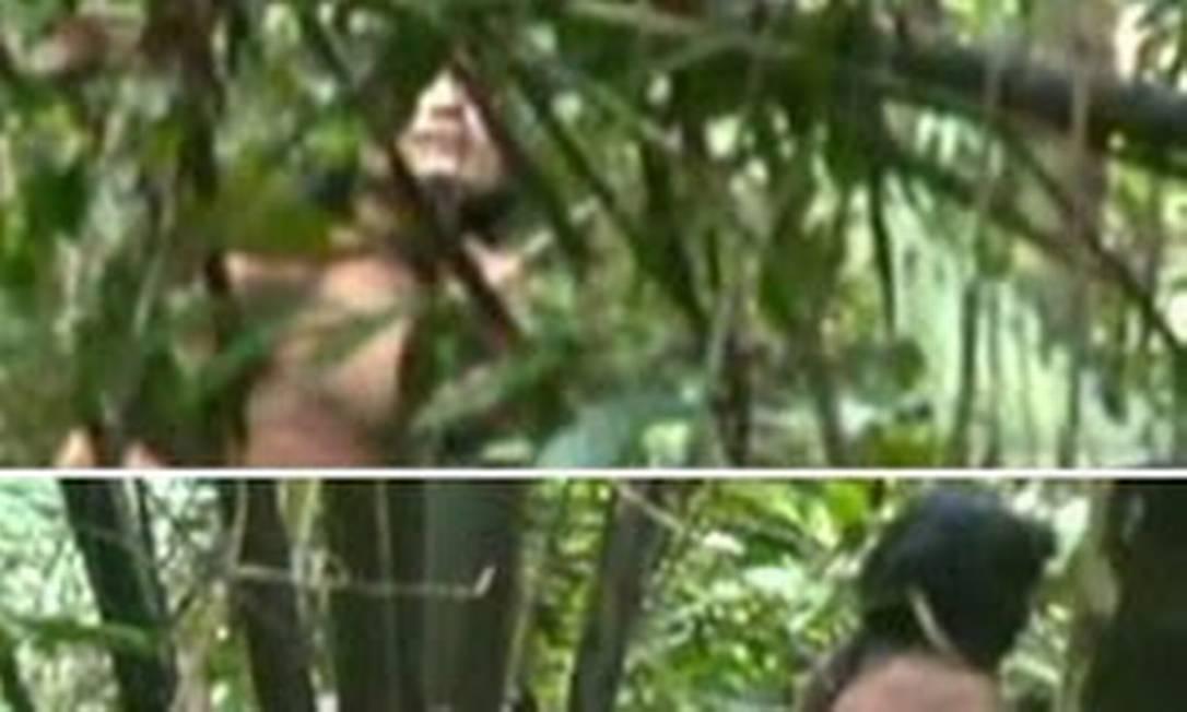 Imagens raras de índios isolados conhecidos como Kawahiva do Rio Pardo, nômades que habitam a região da Amazônia Legal, em Mato Grosso, e estão entre os últimos povos caçadores e coletores do planeta Foto: Reproduções