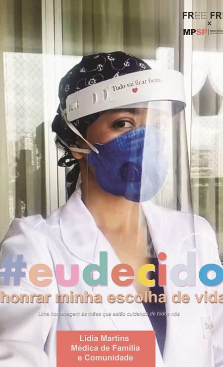 A médica da família Lidia Martins recebe homenagem em campanha promovida pela plataforma Free Free em parceria com o Ministério Público de SP Foto: Divulgação