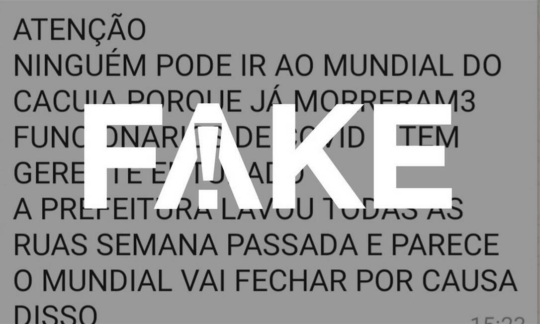 É #FAKE que unidade do supermercado Mundial foi fechada no Rio após funcionários morrerem de Covid-19 Foto: Reprodução