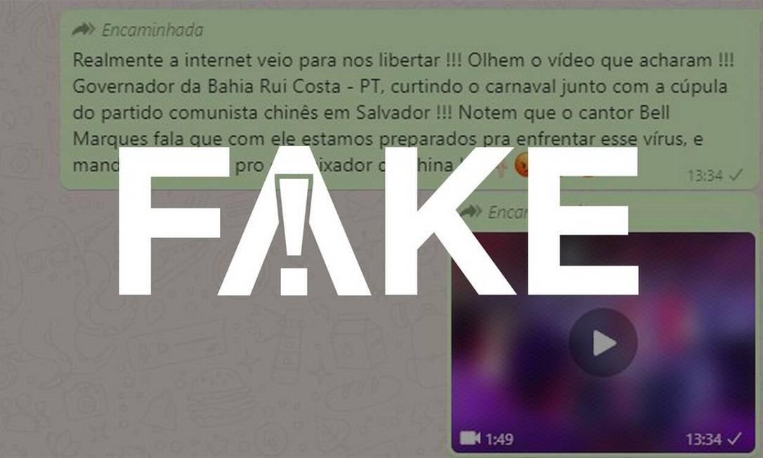 É #FAKE que vídeo mostre Bell Marques falando do novo coronavírus com governador da BA no carnaval Foto: Reprodução