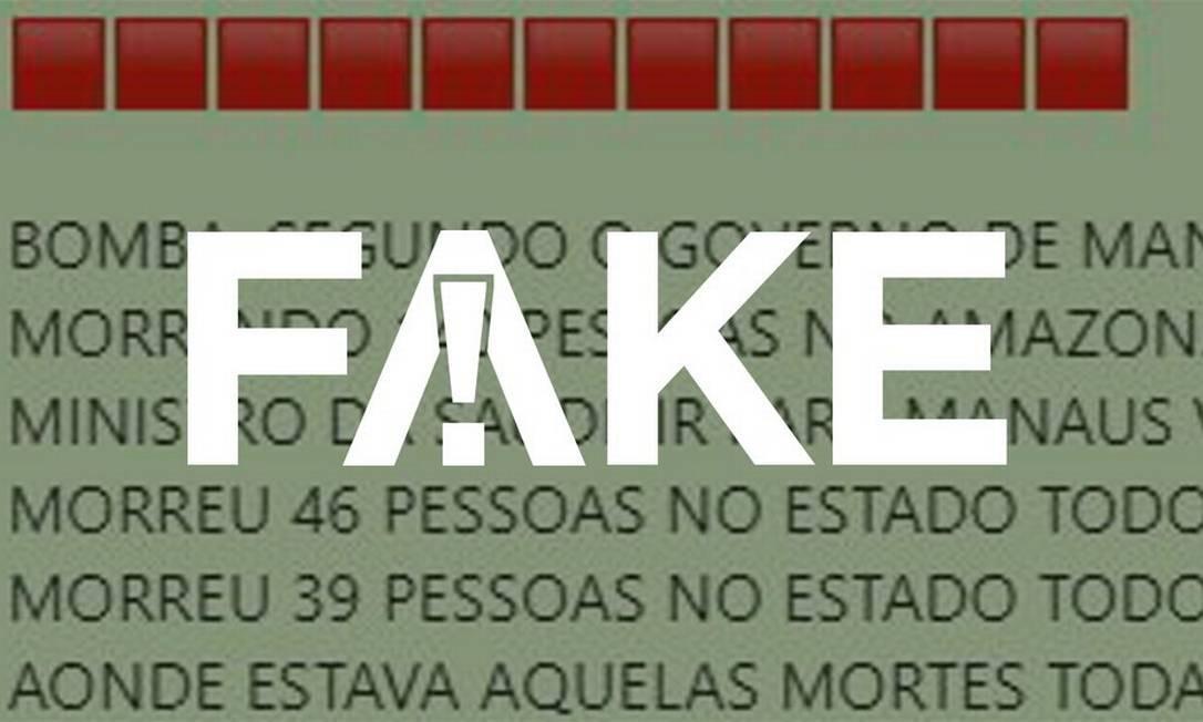 É #FAKE que mortes por Covid-19 no Amazonas diminuíram de forma expressiva após visita de ministro da Saúde Foto: Reprodução