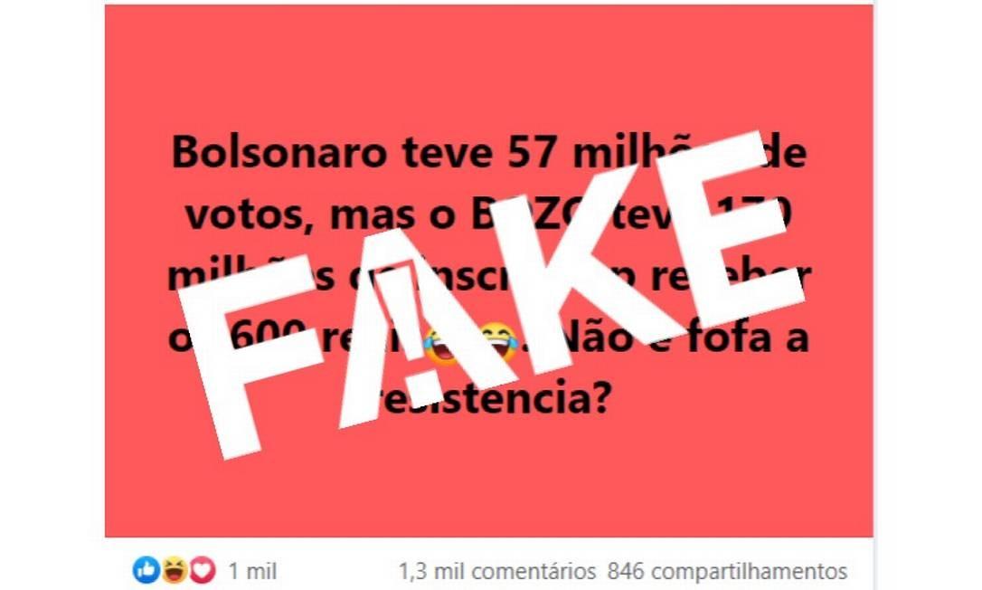 É #FAKE que 170 milhões fizeram inscrição para receber auxílio emergencial do governo federal Foto: Reprodução