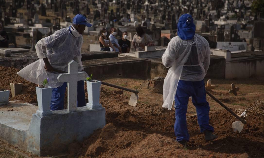 Enterro de vítima de coronavírus em Volta Redonda, no Rio de Janeiro. Foto: Gabriel Monteiro / Agência O Globo