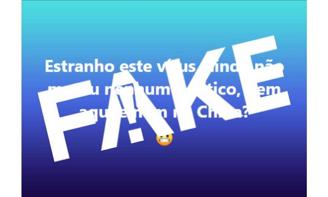 """É #FAKE que coronavírus não matou nenhum político """"nem aqui nem na China"""" Foto: Reprodução"""