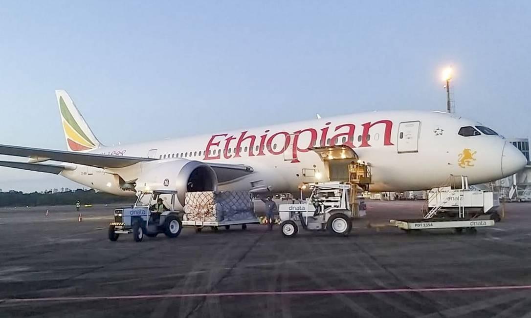 O avião que levou os equipamentos para o Pará Foto: Agência Pará