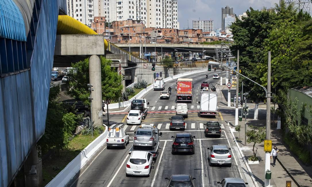Trânsito na Avenida das Juntas Provisorias durante quarentena, antes da mudança no rodízio feita pela Prefeitura de SP. Foto: Anderson Lira/FramePhoto / Agência O Globo