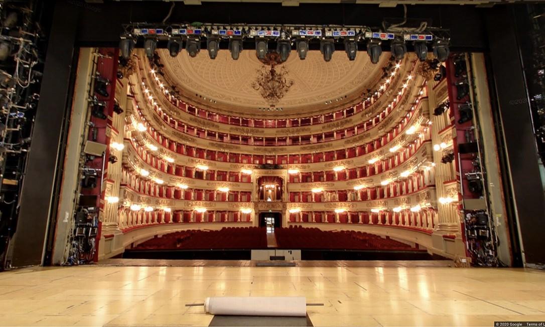 Vista a partir do palco do Teatro Scala, em Milão: tour virtual está na plataforma Google Art & Culture Foto: Divulgação