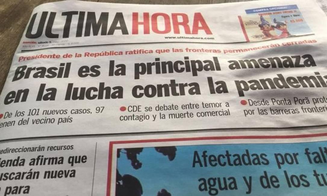 Jornal paraguaio reproduziu declaração de presidente do país Foto: Reprodução