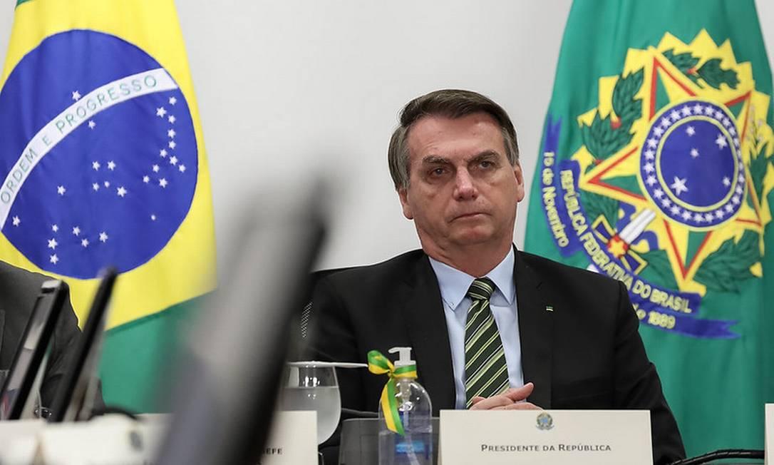 Presidente da República, Jair Bolsonaro durante videoconferência com empresários Foto: Marcos Correa / PR