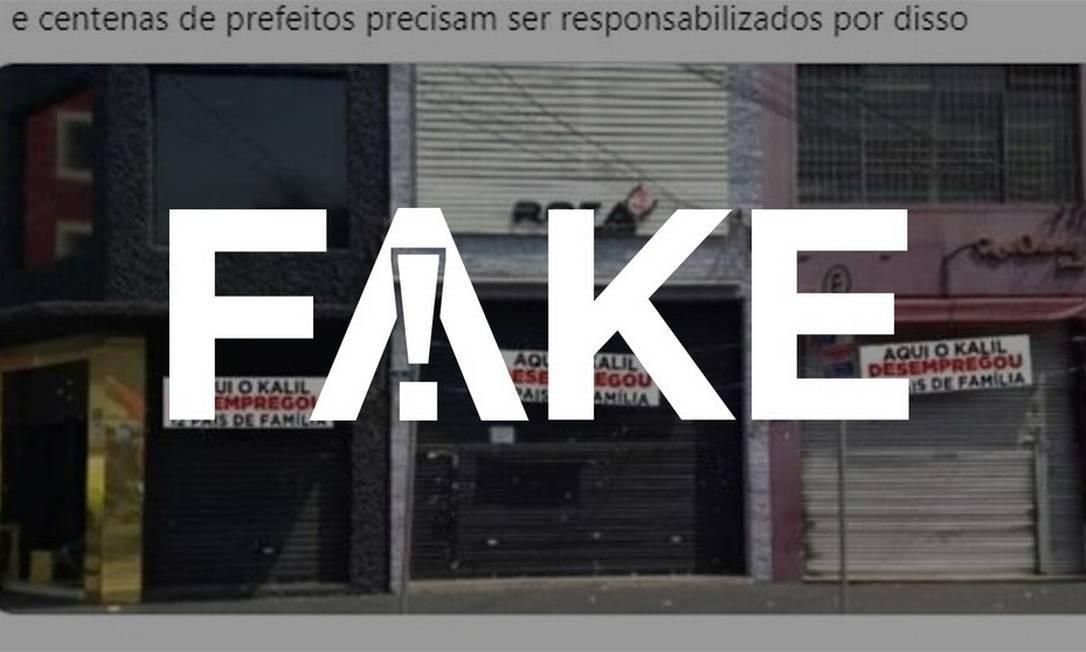 É #FAKE que foto mostre lojas fechadas em Belo Horizonte com cartazes criticando prefeito Foto: Reprodução