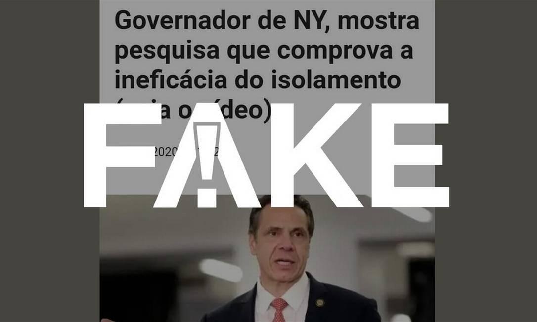 É #FAKE que governador de NY disse que levantamento feito pelo Departamento de Saúde do estado provou ineficácia do isolamento social Foto: Reprodução