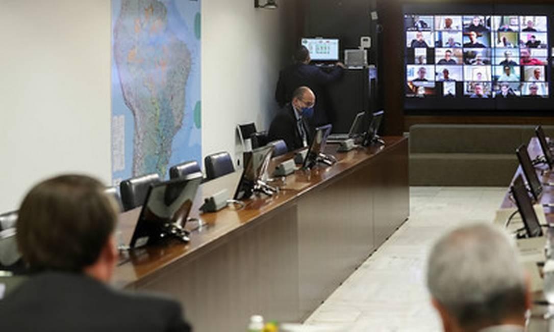 Bolsonaro faz reunião com empresários por vídeoconferência Foto: Marcos Correa / Divulgação
